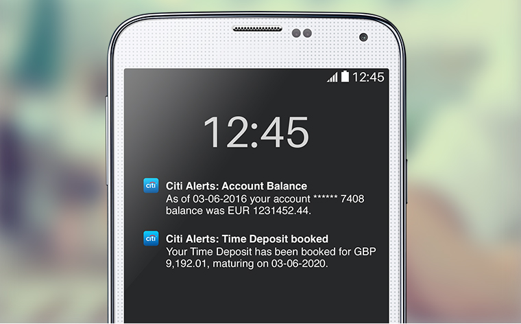 Text Alerts on your Citi UK Mobile App
